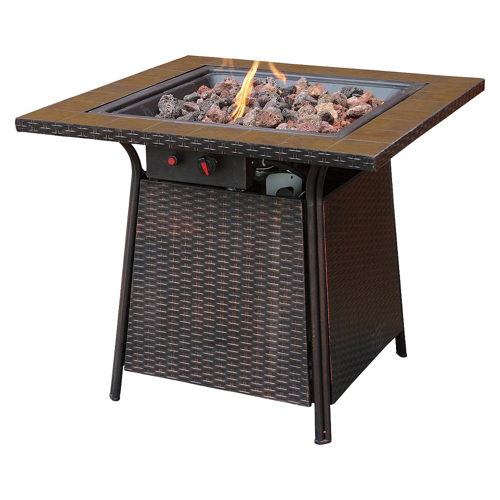 Blue Rhino Propane Fire Pit with Square Ceramic Tiles - 3...