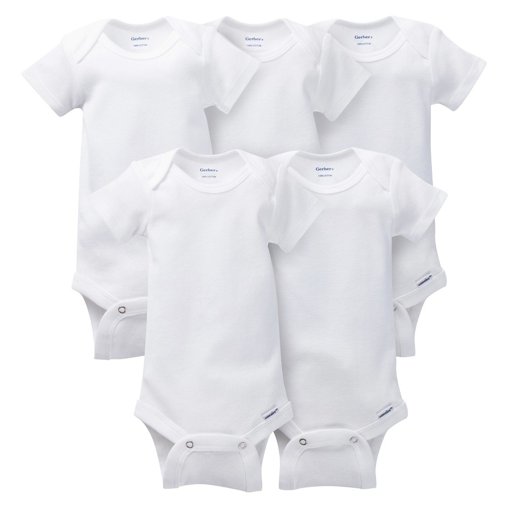 Gerber Onesies Baby 5 Pack Short Sleeve Bodysuit, Infant Unisex, Size: NB, White