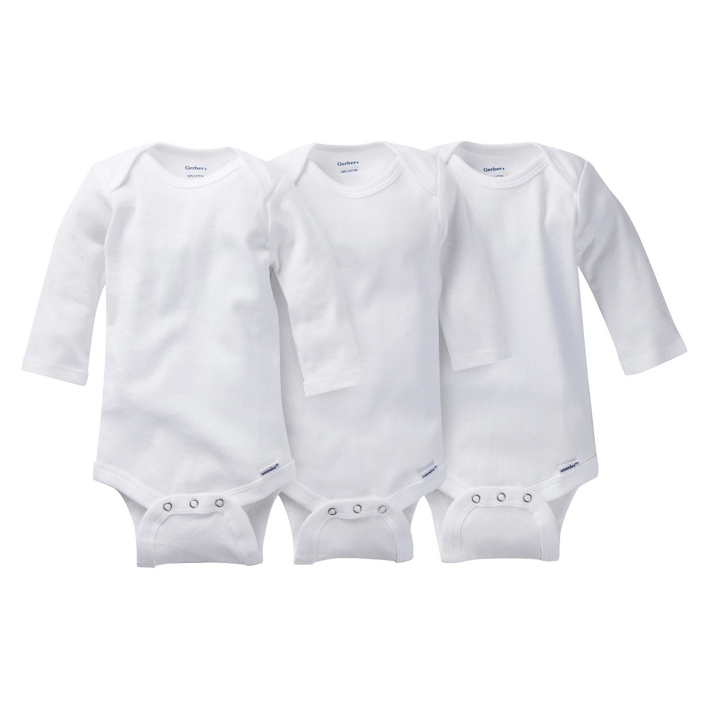 Baby 3 Pack Long Sleeve Onesies White Bodysuits - Gerber 6-9M, Infant Unisex, Size: 6-9 M