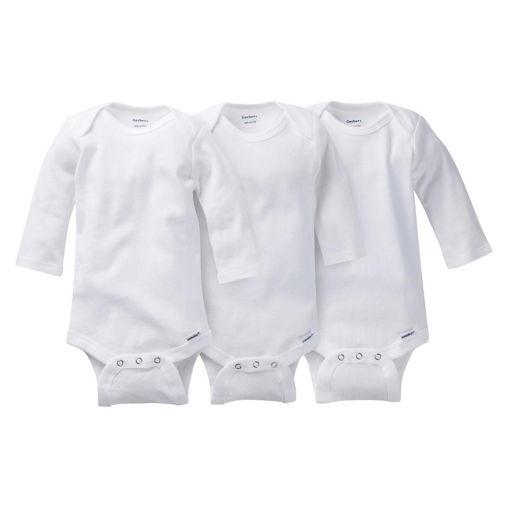 Gerber Newborn Onesies Long-Sleeve, White, Unisex, 12 Months - 3 Pack