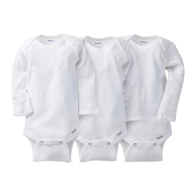 Gerber Baby Unisex 3pk Long Sleeve Onesies Bodysuits with mitten cuff