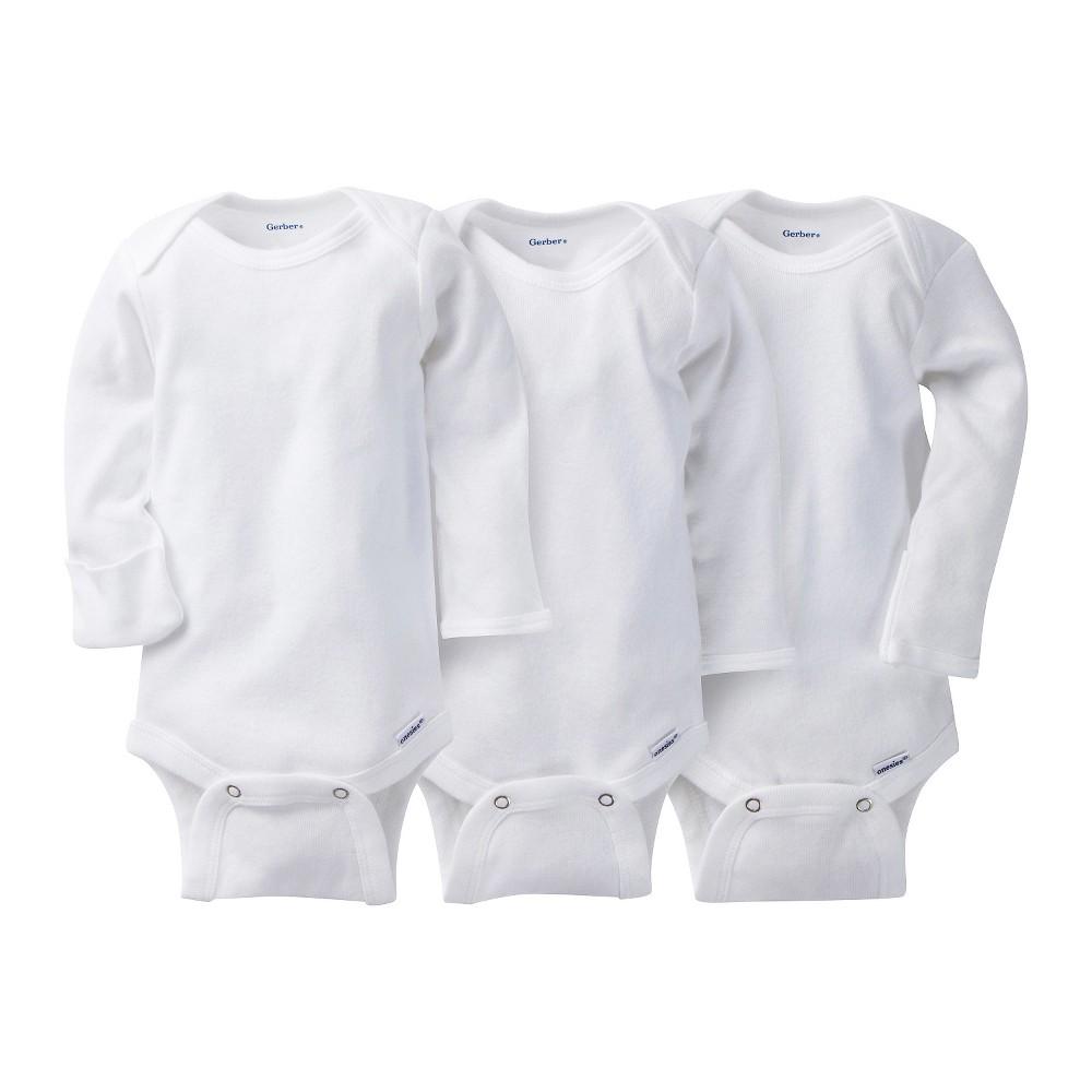 Gerber Onesies 3 Pack Long Sleeve Onesies - White Baby, Infant Unisex, Size: NB