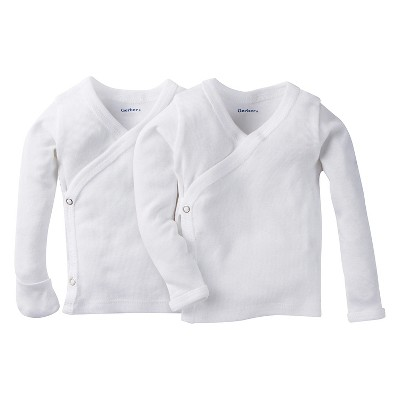 Gerber® Baby White Long Sleeve 2pk Sidesnap Shirt 0-3M