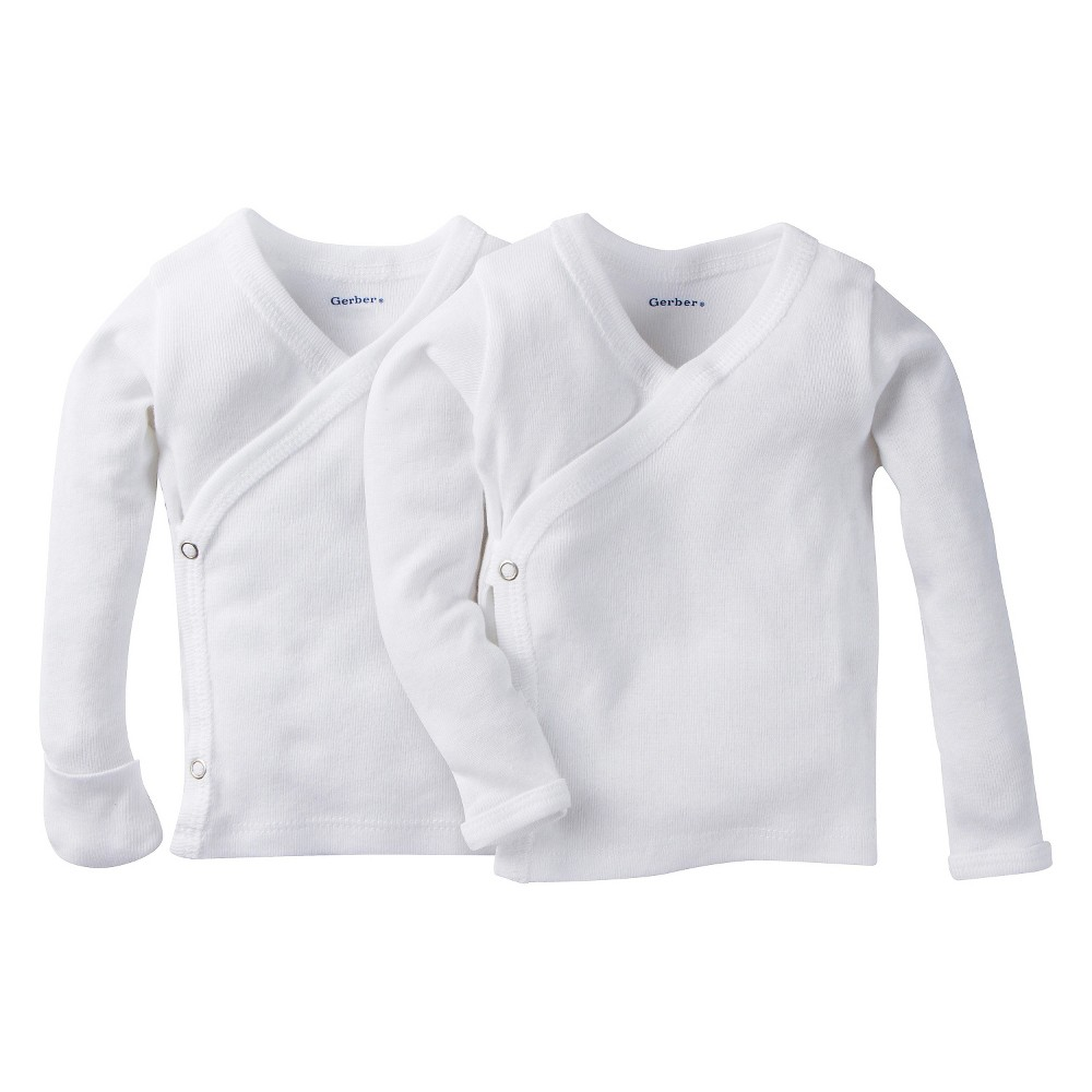 Gerber Baby White Long Sleeve 2 Pack Sidesnap Shirt 0-3M, Infant Unisex, Size: 0-3 M
