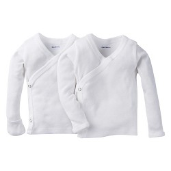 Gerber® Baby White Long Sleeve 2 Pack Sidesnap Shirt 0-3M