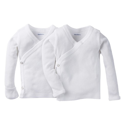 Gerber® Baby White Long Sleeve 2 Pack Sidesnap Shirt 0-3M - image 1 of 3