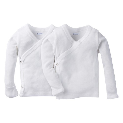 Gerber Baby White Long-Sleeve 2 Pack Sidesnap Shirt 0-3M, Infant Unisex, Size: 0-3 M