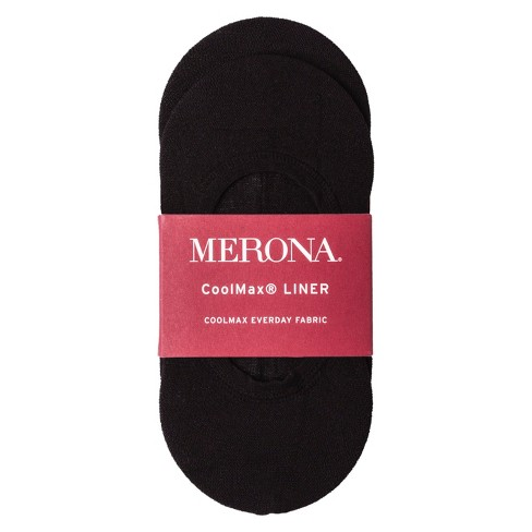 Women's CoolMax Liner Socks 2-Pack Black One Size - Merona™ - image 1 of 1