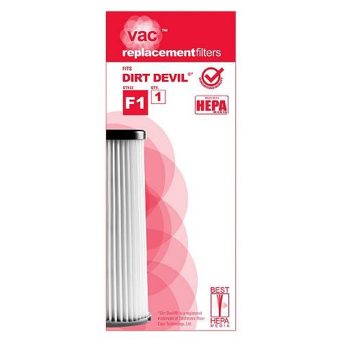Dirt Devil Type F1 Hepa Vacuum Filter (1-Pack), AA40001, White - Dnu
