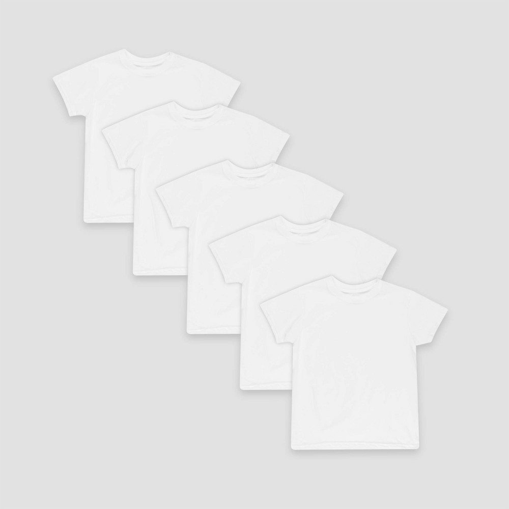 Boys Hanes 5-Pack Crew T-Shirt - White, Size: Large
