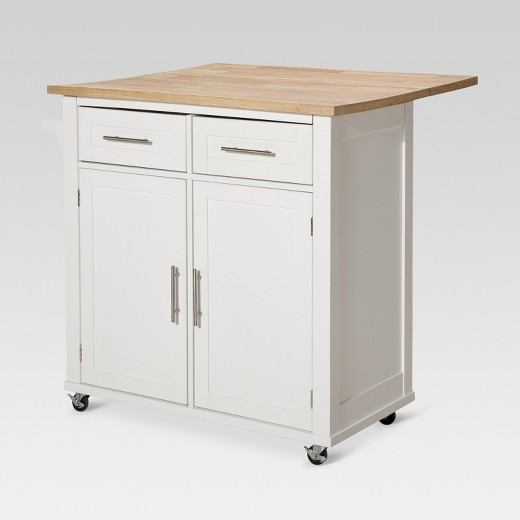 Large Kitchen Island with Wood Top and Storage - White - Threshold ...