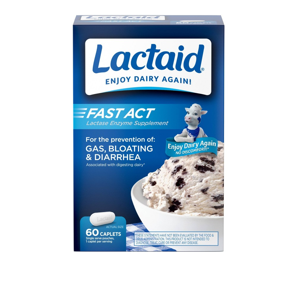 Lactaid Fast Act Anti Diarrheal Caplets - 60 Count