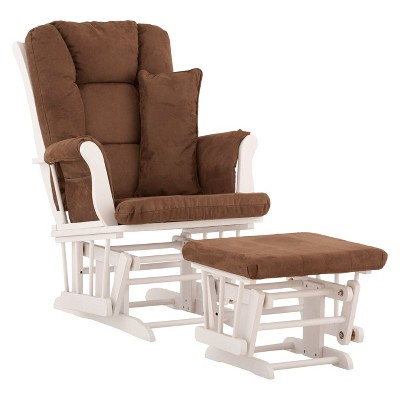 Stork Craft Tuscany White Glider and Ottoman - Chocolate