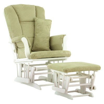 Stork Craft Tuscany White Glider and Ottoman - Sage