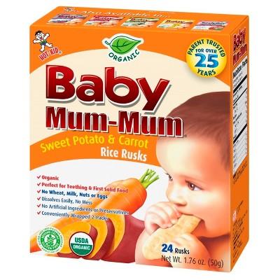 Baby Mum-Mum Organic Rice Rusks, Sweet Potato & Carrot - 1.76oz