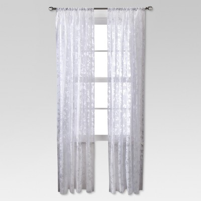 Botanical Burnout Window Sheer - White (54x84 )- Threshold™