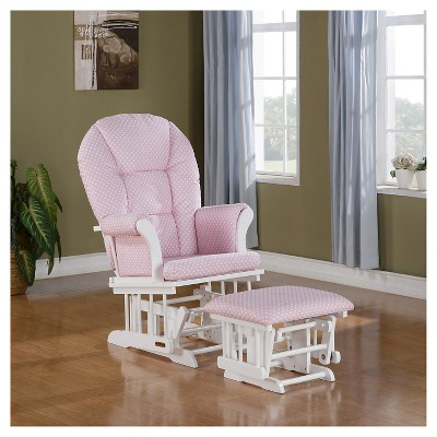 Shermag Alexis Glider Rocker and Ottoman Combo - White with Pink Dot Twill