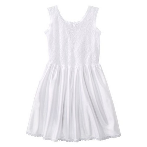 I.C. Collections Girls' Lace Nylon Full Slip - White - image 1 of 1