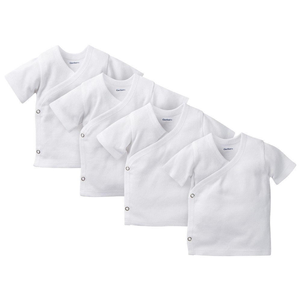 Gerber Baby 4 Pack Short Sleeve Side Snap Shirts - White 0-3 M, Infant Unisex