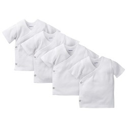 Gerber® Baby 4 Pack Short Sleeve Side Snap Shirts - White 0-3 M