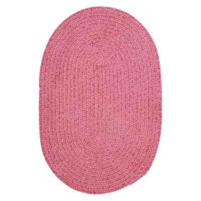 3'x5' Solid Oval Accent Rug Pink