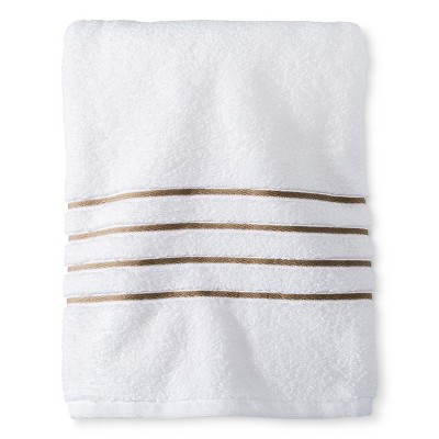 Bath Towel White/Taupe Stripe - Fieldcrest™