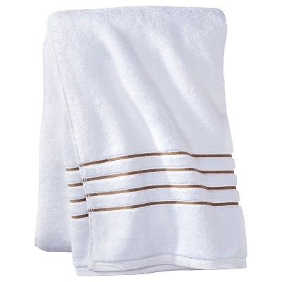 Bath Sheet White/Taupe Stripe - Fieldcrest™