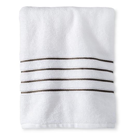 Bath Towel WhiteGray Stripe Fieldcrest Target