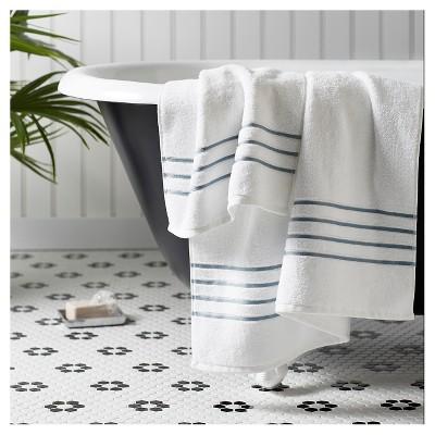 luxury stripe accent bath towels fieldcrest