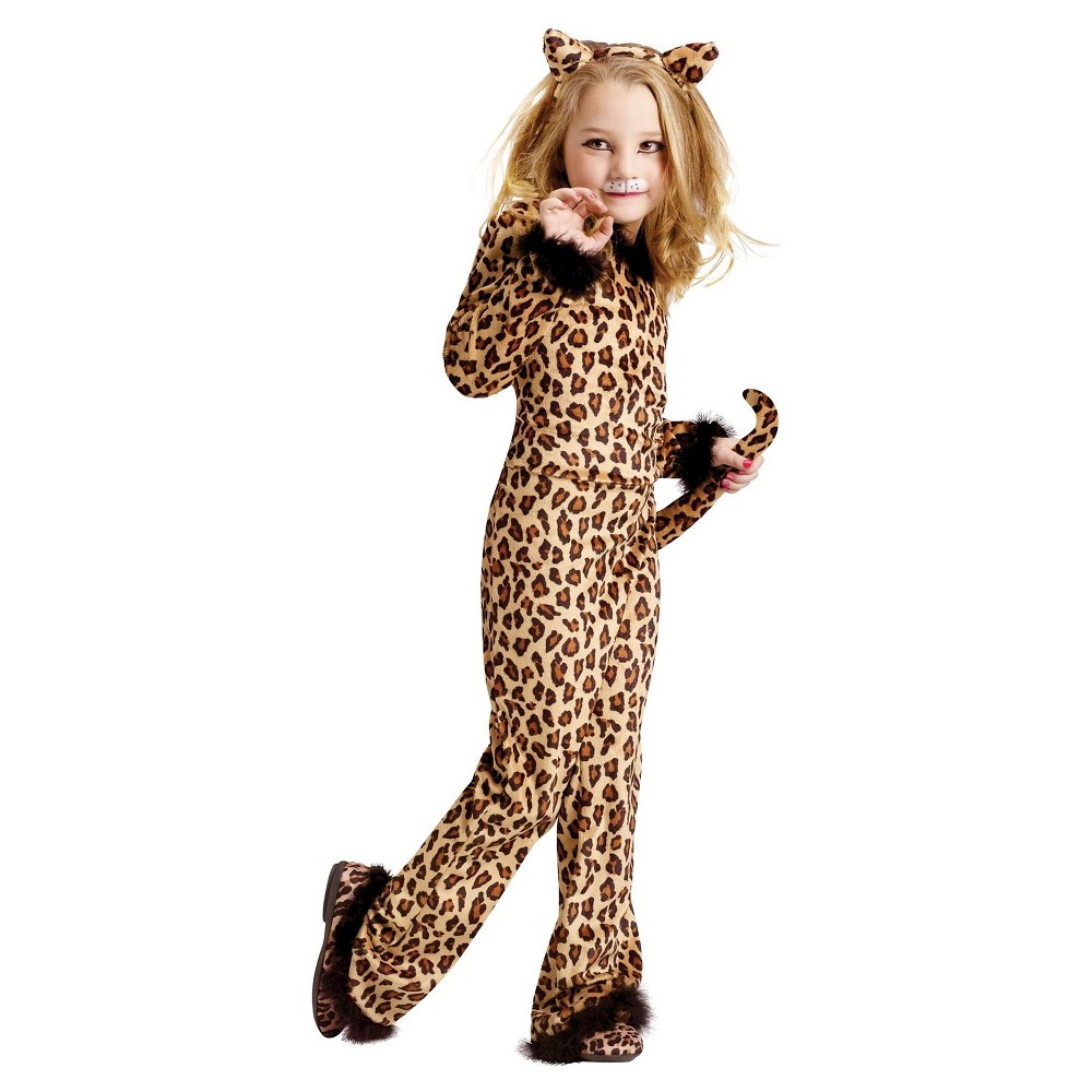 Girls Leopard Costume - Small (4-6), Size: S(4-6), Multicolored