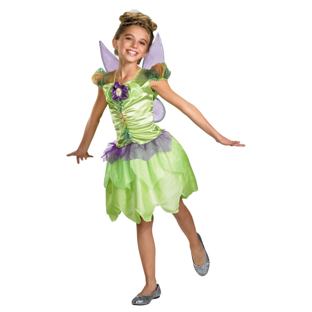 Girls Disney Tinker Bell Rainbow Classic Costume L(10-12), Size: Large, Green