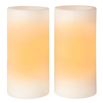 Room Essentials™ 2 Pack 3x6  Straight Edge Vanilla Scent LED Pillar Candles - Bisque
