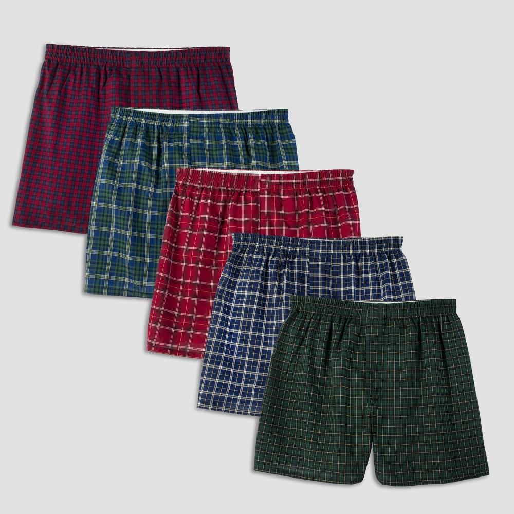 Fruit of the Loom Mens Boxers 5-Pack - Tartan Plaid M, Clear
