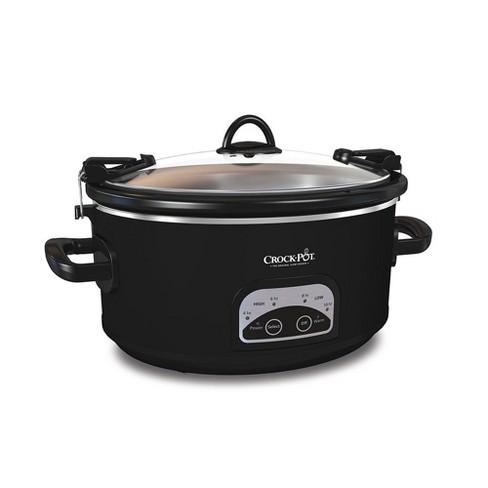 crock pot programmable 6 qt slow cooker black sccpvl605 b a target. Black Bedroom Furniture Sets. Home Design Ideas