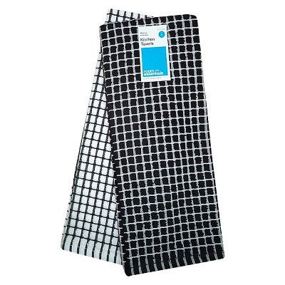 Black Grid Dish Kitchen Towel (2 Pk)- Room Essentials™