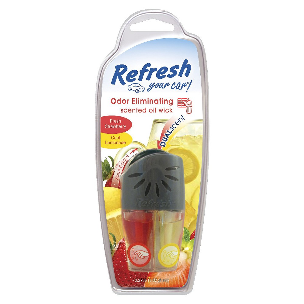 Refresh Your Car Fresh Strawberry and Cool Lemonade Odor Eliminating Scented Oil Wick Car Air Freshener, Clear