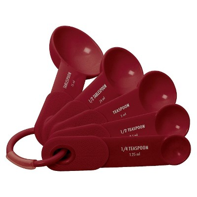 kitchenaid measuring spoons plastic 4 piece set red