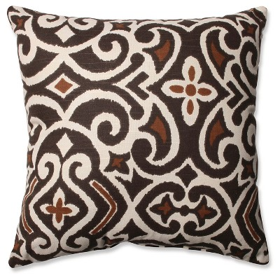 Brown/Beige Damask Square Throw Pillow (16.5 x16.5 )- Pillow Perfect
