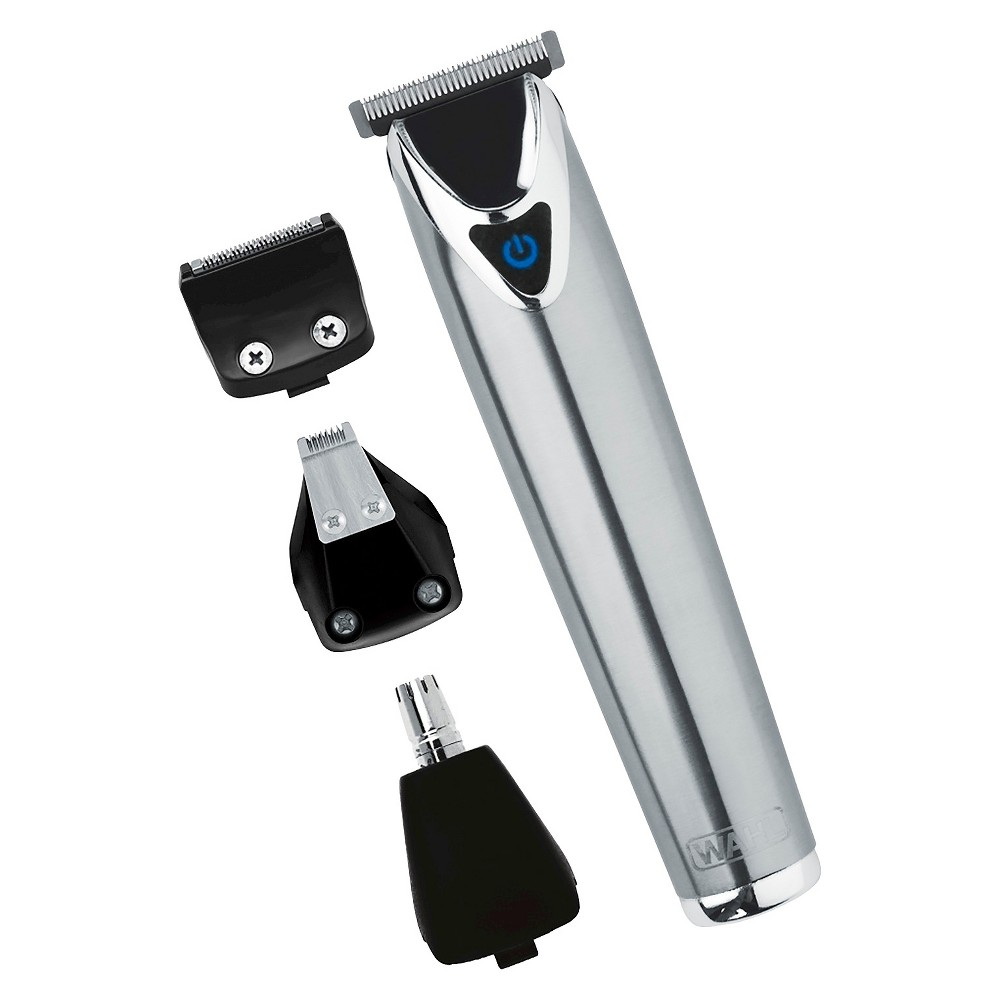Wahl Stainless Steel (Silver) Lithium Ion Men's Multi Purpose Beard, Facial Trimmer and Total Body Groomer - 9818