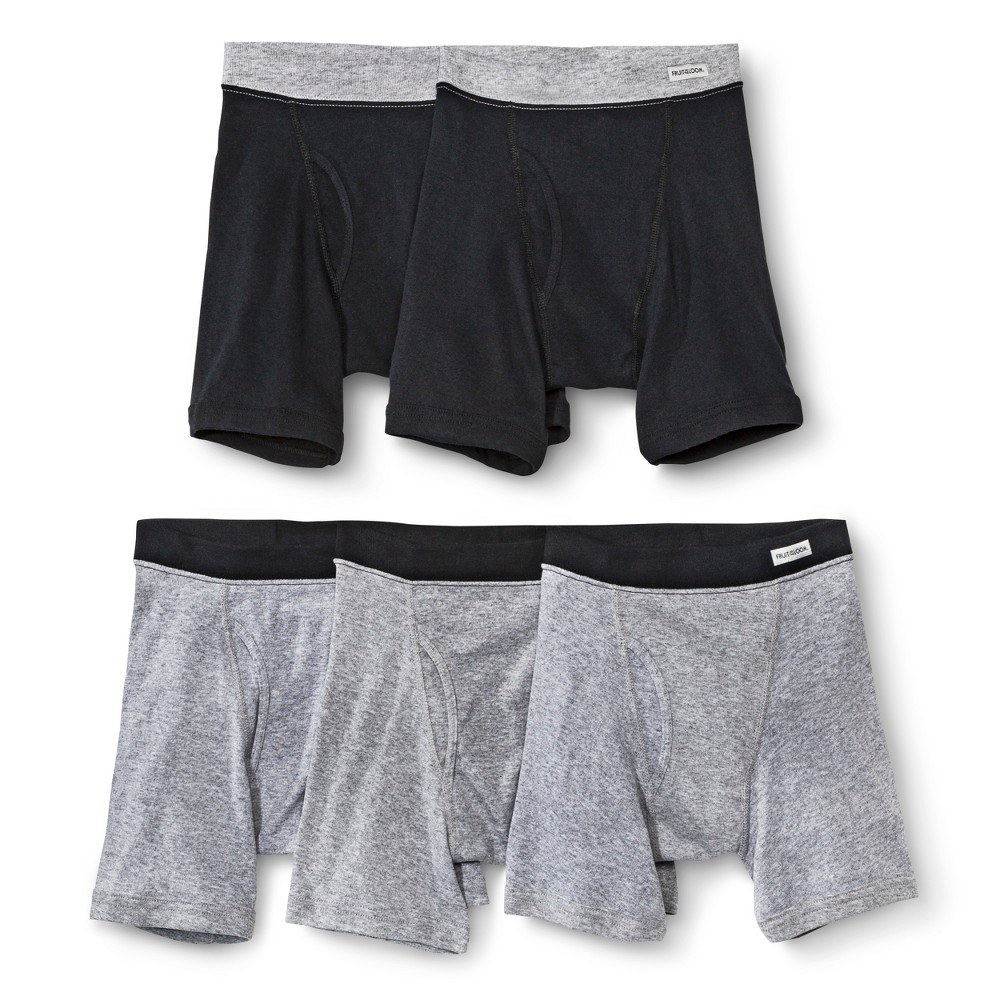Fruit Of The Loom Boys Boxer, Large - Black/Gray, Assorted, 5-pack