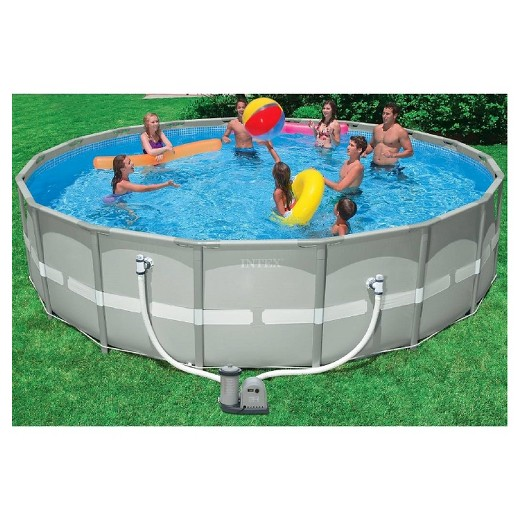 intex 18 x 48 ultra frame above ground pool with filter pump - Intex Pools