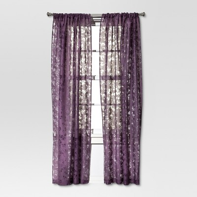 Botanical Burnout Window Sheer - Purple (54x84 )- Threshold™