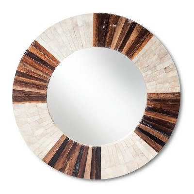 Round Decorative Wall Mirror Brown/Natural