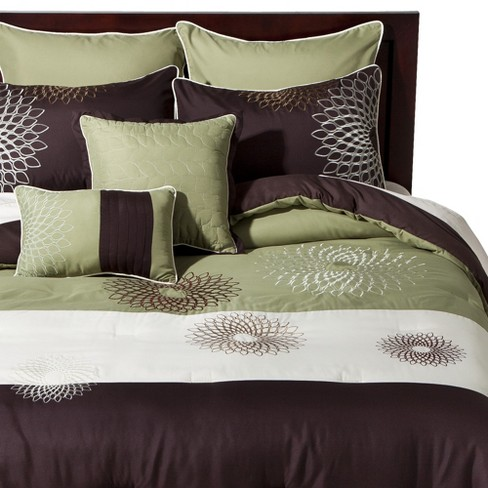 Medallion Embroidered 8 Piece Bedding Set - Green/Brown - image 1 of 2