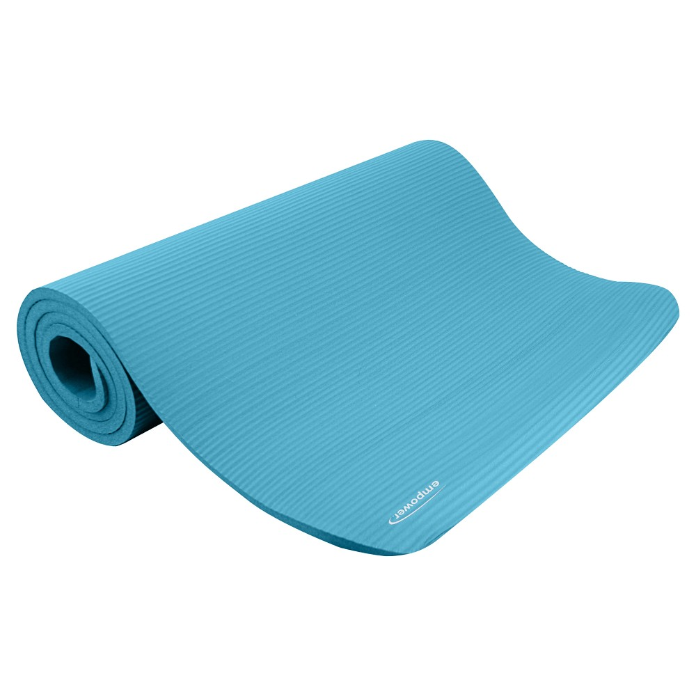 Empower Deluxe Fitness Mat with Carry Strap - Teal (Blue)...