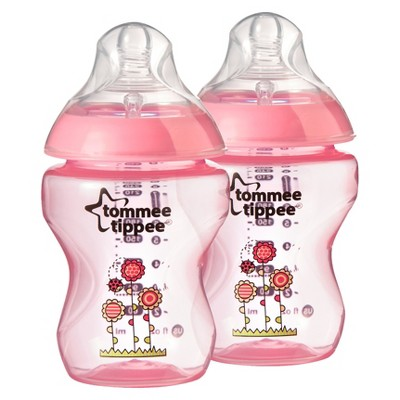 Tommee Tippee Closer To Nature 9 oz Deco Bottle (2pk)- Pink