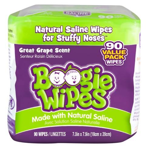 Boogie Wipes Saline Nose Wipes Grape Scent - 90ct - image 1 of 3