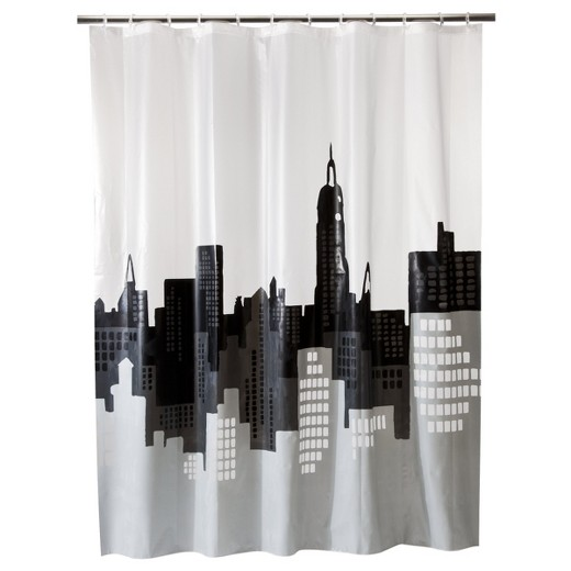 City Scape Shower Curtain Gray/White - Room Essentials
