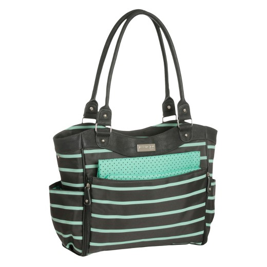 baby zip down front fashion tote diaper bag just one you made by carter s gray mint green. Black Bedroom Furniture Sets. Home Design Ideas