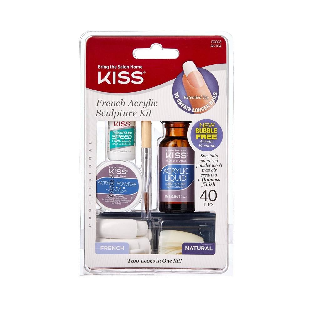 Kiss Bring the Salon Home French Acrylic Nail Kit - Natural